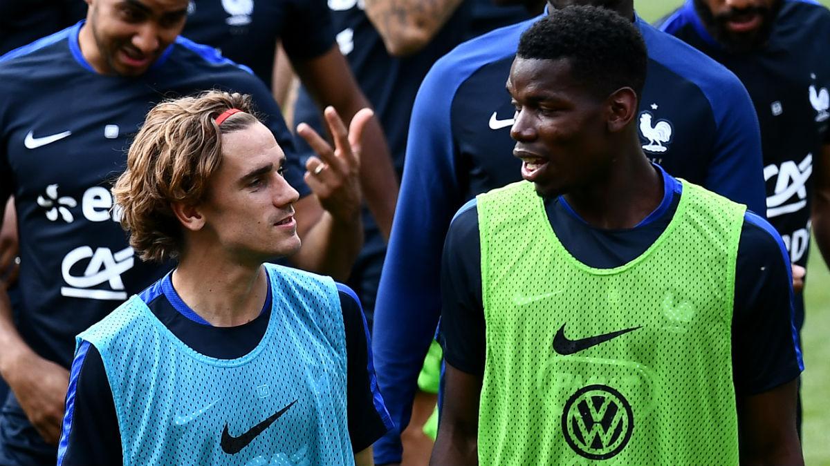 Griezmann y Pogba en un entrenamiento con Francia. (AFP)