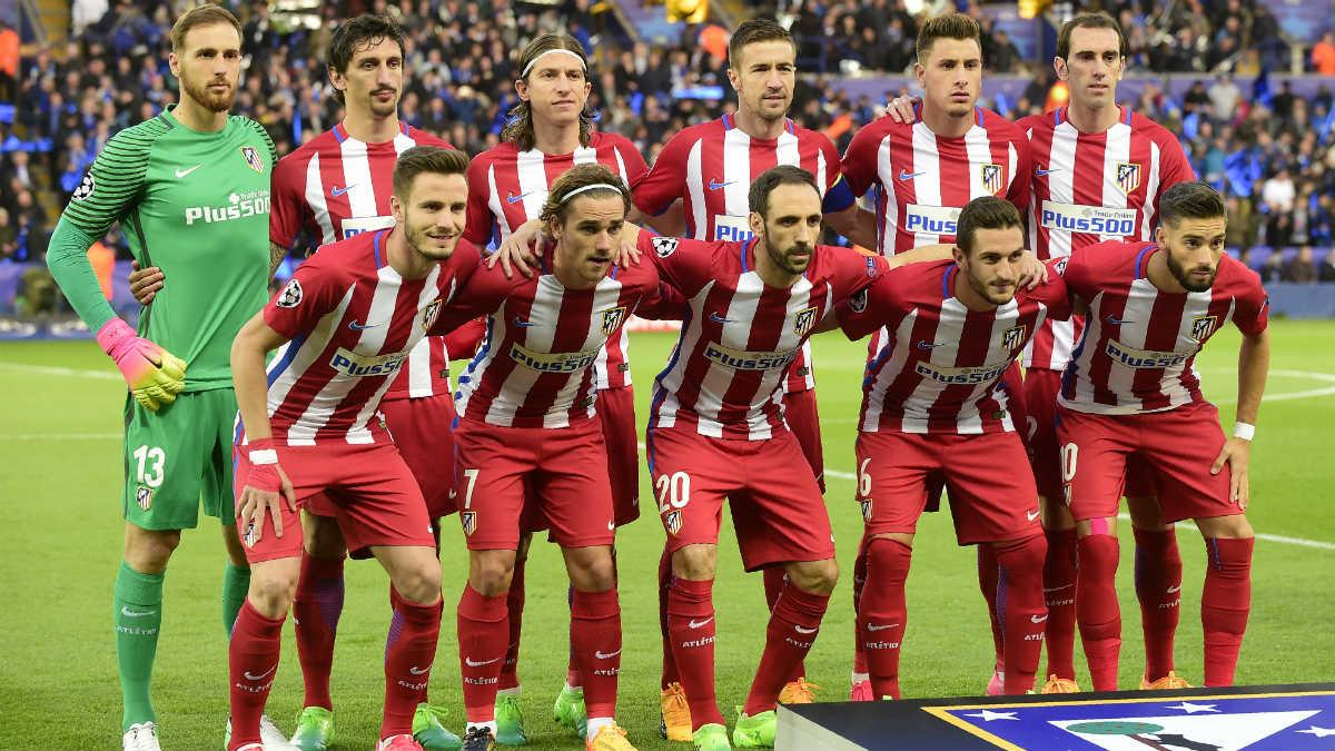 La alineación del Atlético contra el Leicester. (AFP)