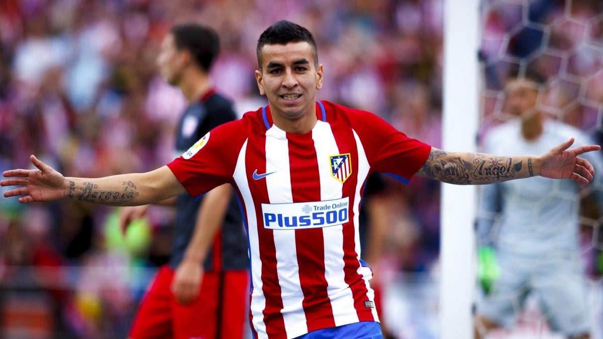 Ángel Correa celebra el último gol en el Vicente Calderón