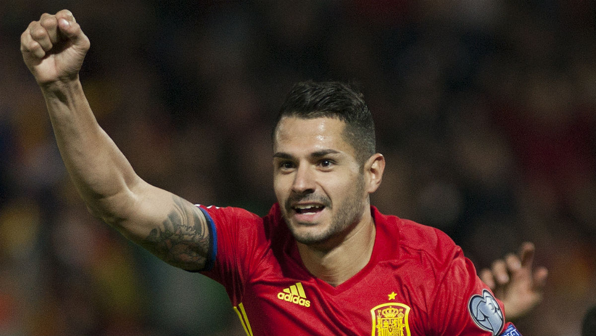 Vitolo celebra un gol con España. (AFP)