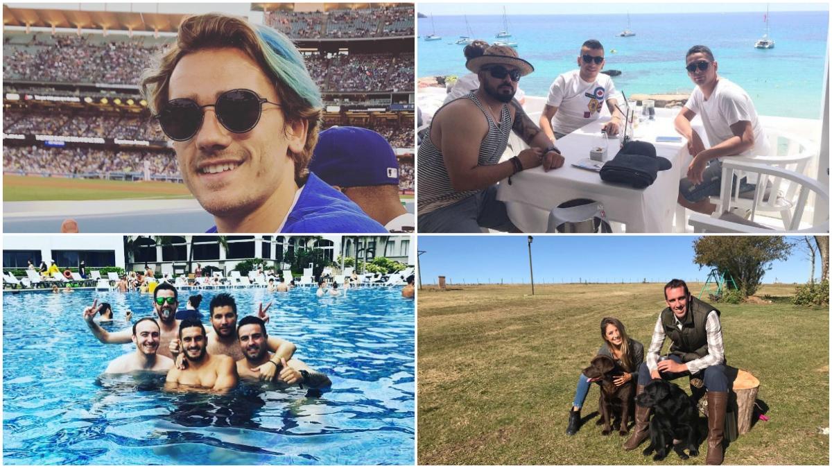 Griezmann, Correa, Koke y Godín, durante sus vacaciones.