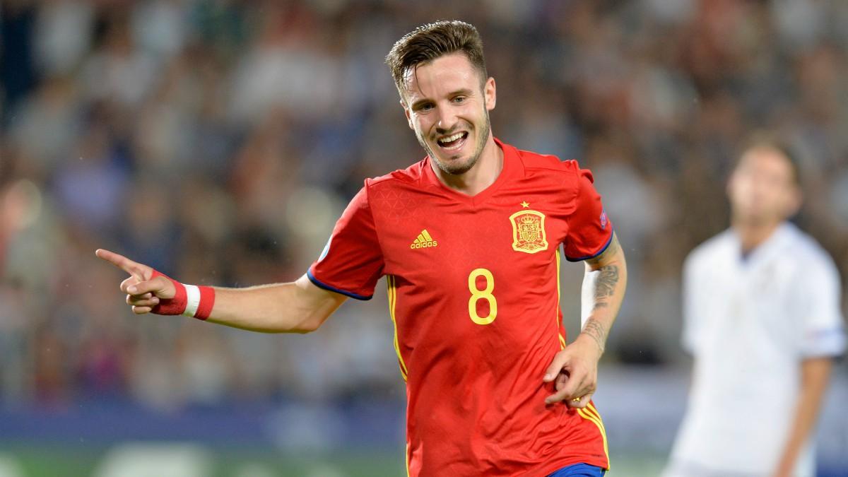 Saúl celebra uno de sus goles a Italia. (Getty)
