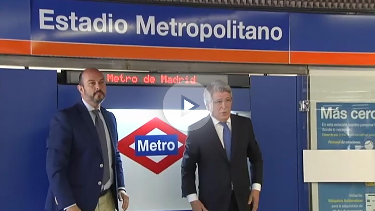 Enrique Cerezo, en la inauguración de la estación de metro del Wanda Metropolitano.