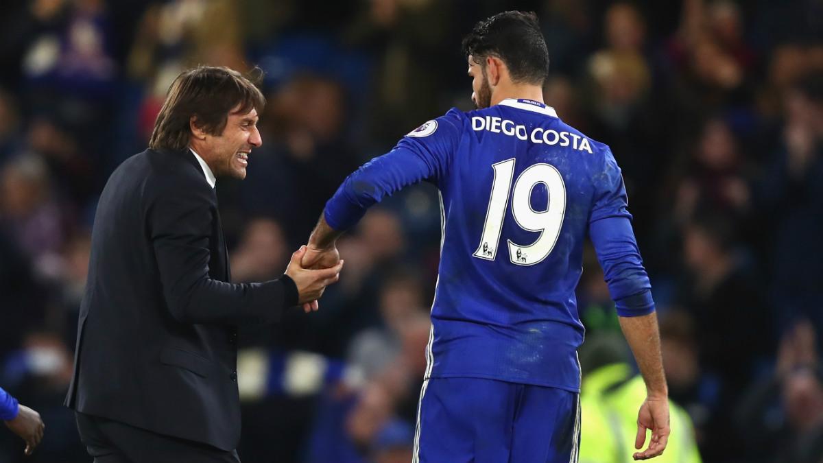 Antonio Conte y Diego Costa durante un partido con el Chelsea. (Getty)