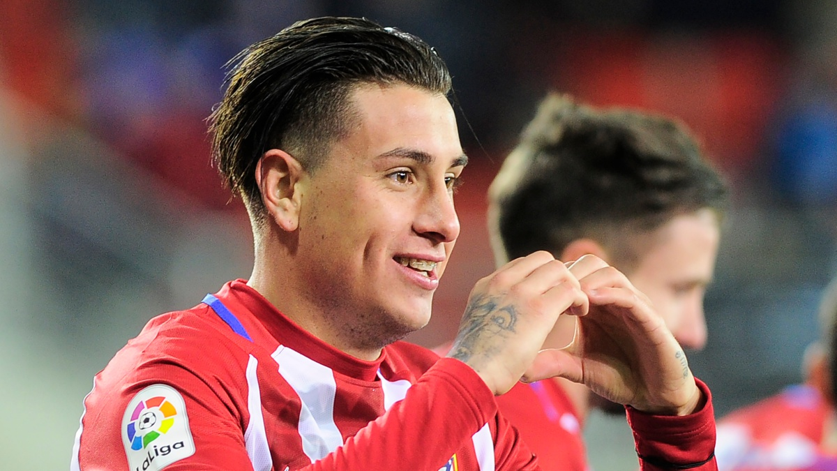José María Giménez celebra un gol con el Atlético de Madrid