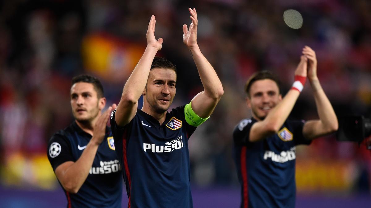 Koke, Gabi y Saúl celebran haber eliminado al Barça en 2016