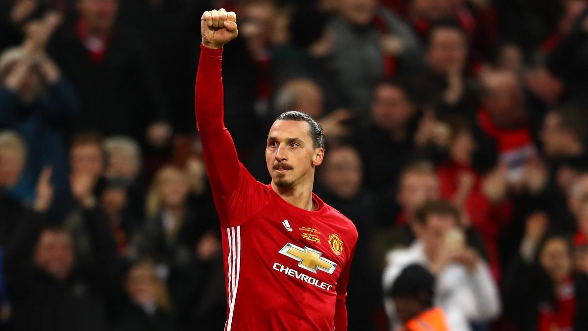 Zlatan Ibrahimovic celebra un gol con el Manchester United