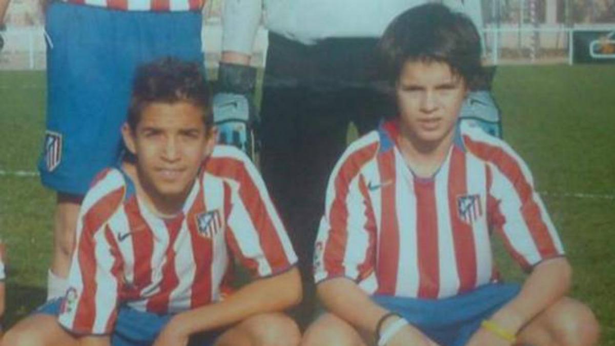 Álvaro Morata (derecha), en su etapa como canterano del Atlético de Madrid (Twitter).