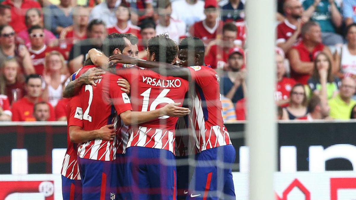 El Atlético celebra la victoria ante el Nápoles. (atleticodemadrid.com)