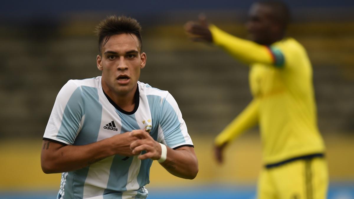 Lautaro Martínez, durante un encuentro con Argentina Sub20