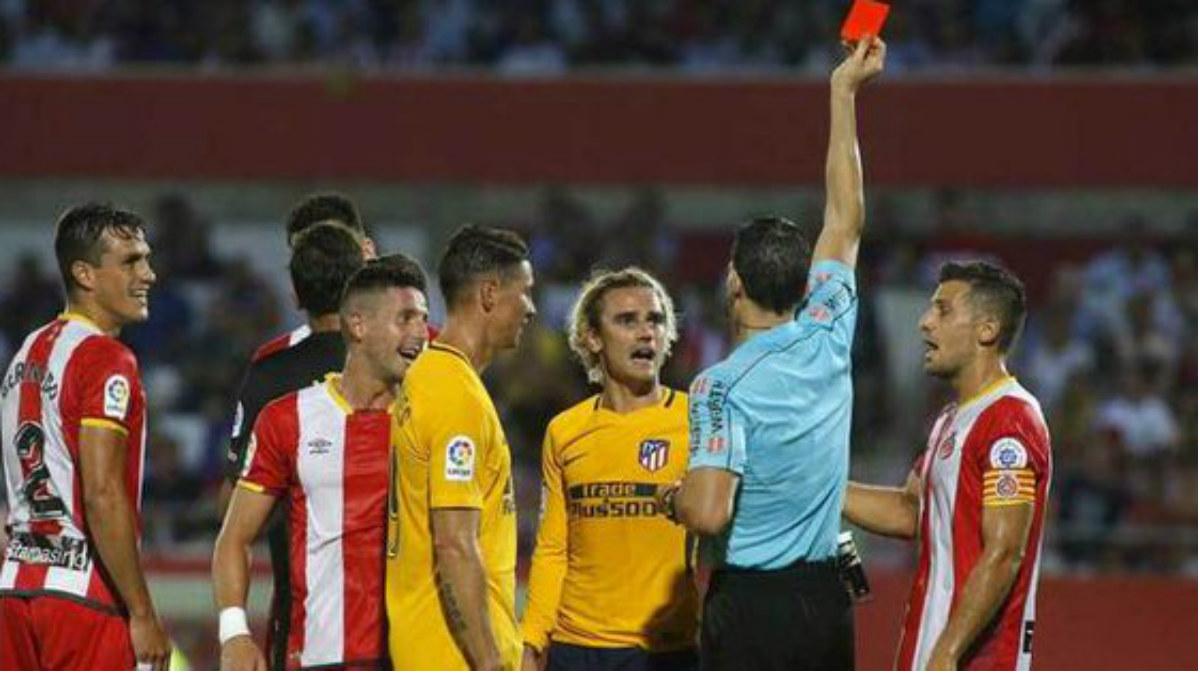 Griezmann fue expulsado ante el Girona. (Twitter)