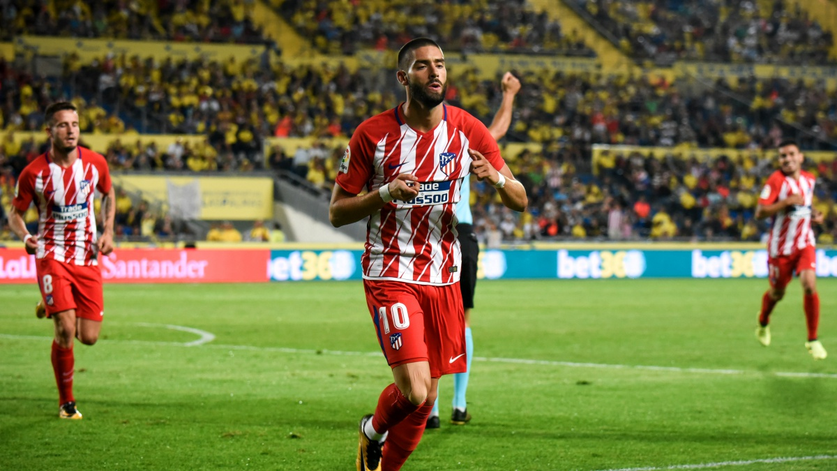 Carrasco celebra su gol durante Las Palmas – Atlético de Madrid