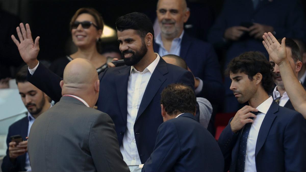Diego Costa presenció el choque desde el palco del Wanda Metropolitano. (EFE)