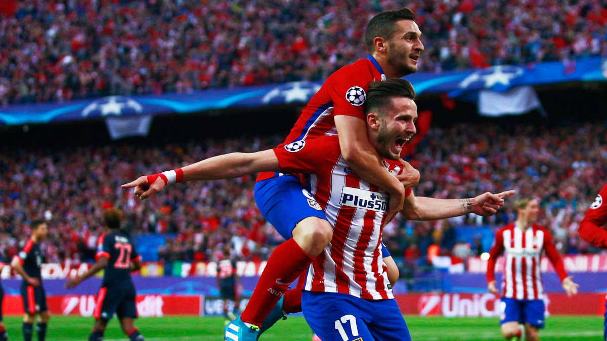 Koke y Saúl celebran un gol del Atlético de Madrid