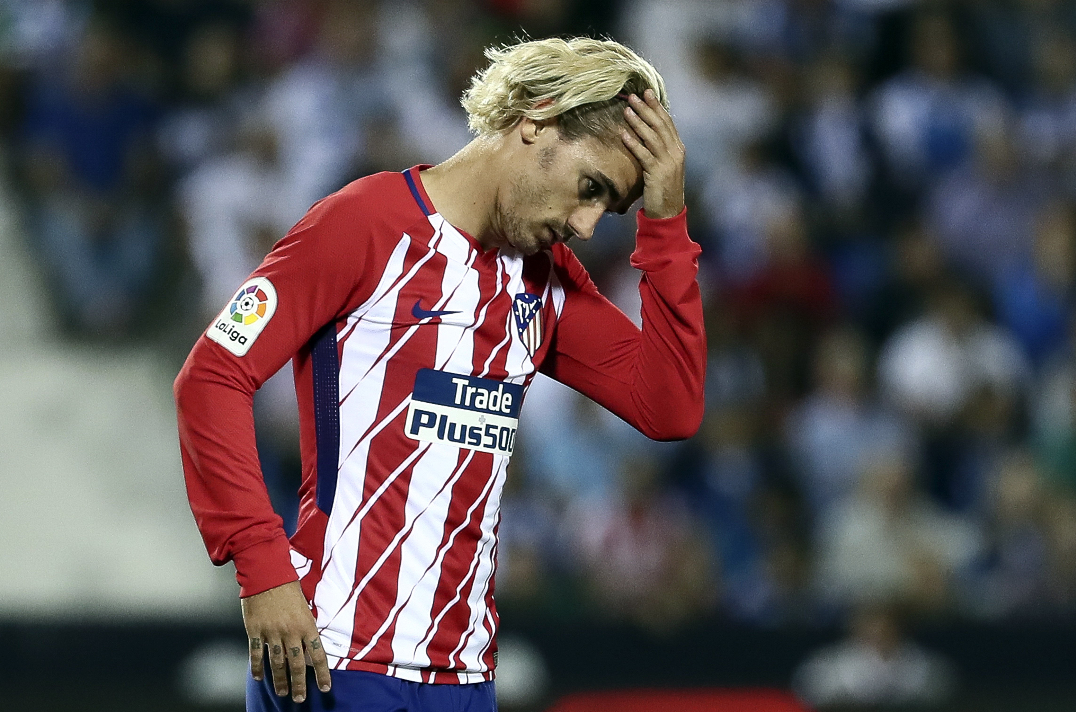 Griezmann se lamenta durante el Leganés – Atlético