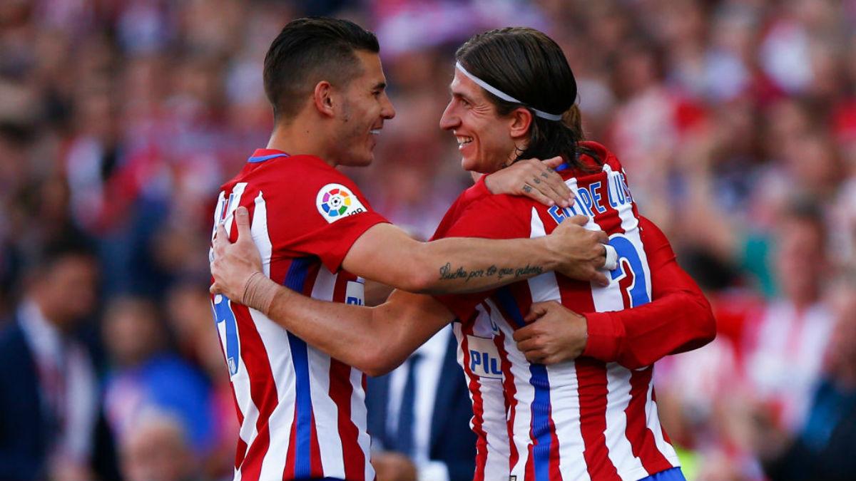 Filipe Luis y Lucas celebrando un gol la pasada campaña (Getty).