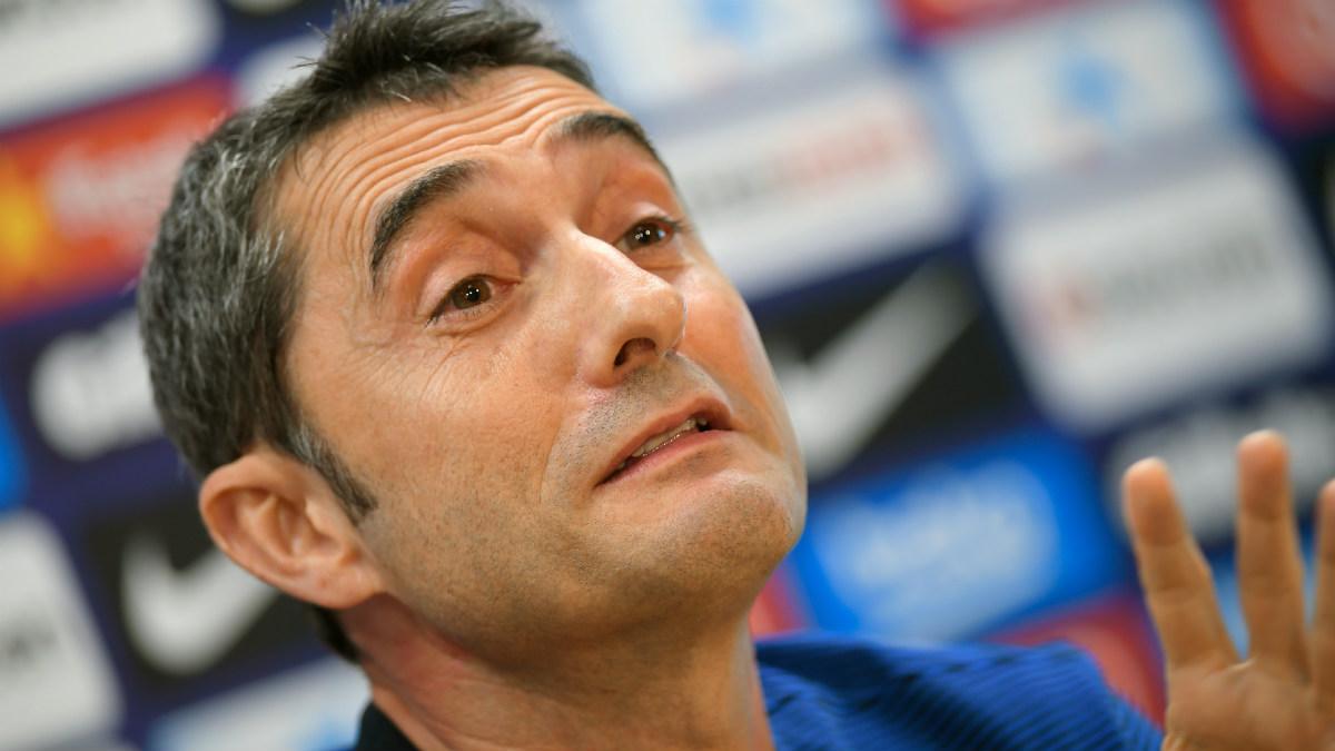 Ernesto Valverde, en sala de prensa. (AFP)