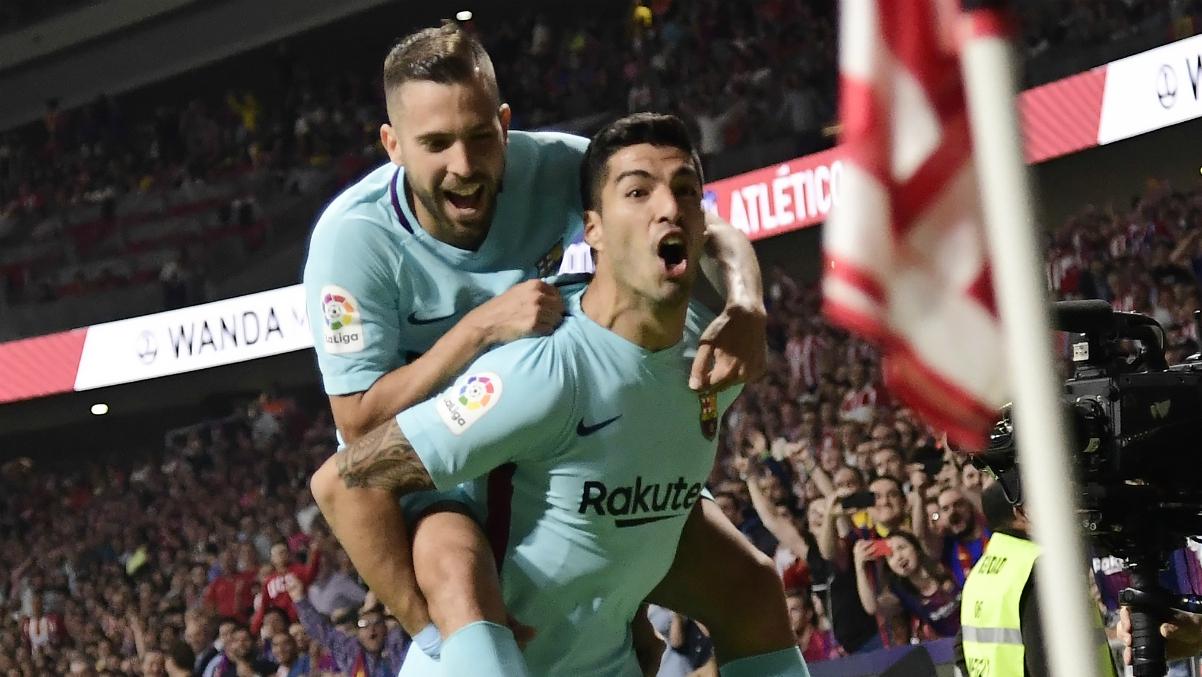 Luis Suárez celebra su gol en el Metropolitano. (AFP)