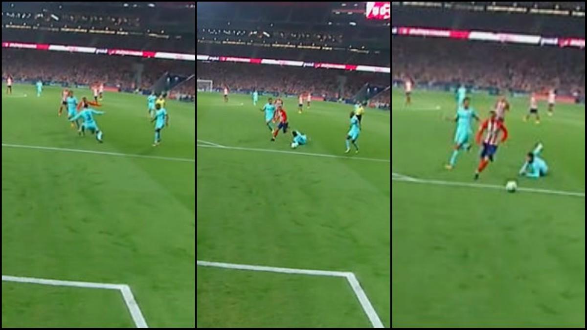 Griezmann humilló a Piqué con un caño espectacular.