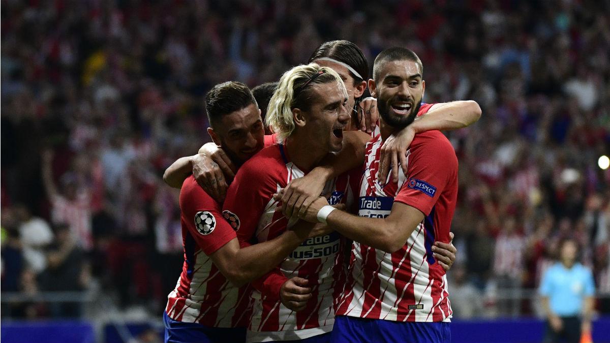 Los jugadores del Atlético celebran un gol en la Champions League. (AFP)