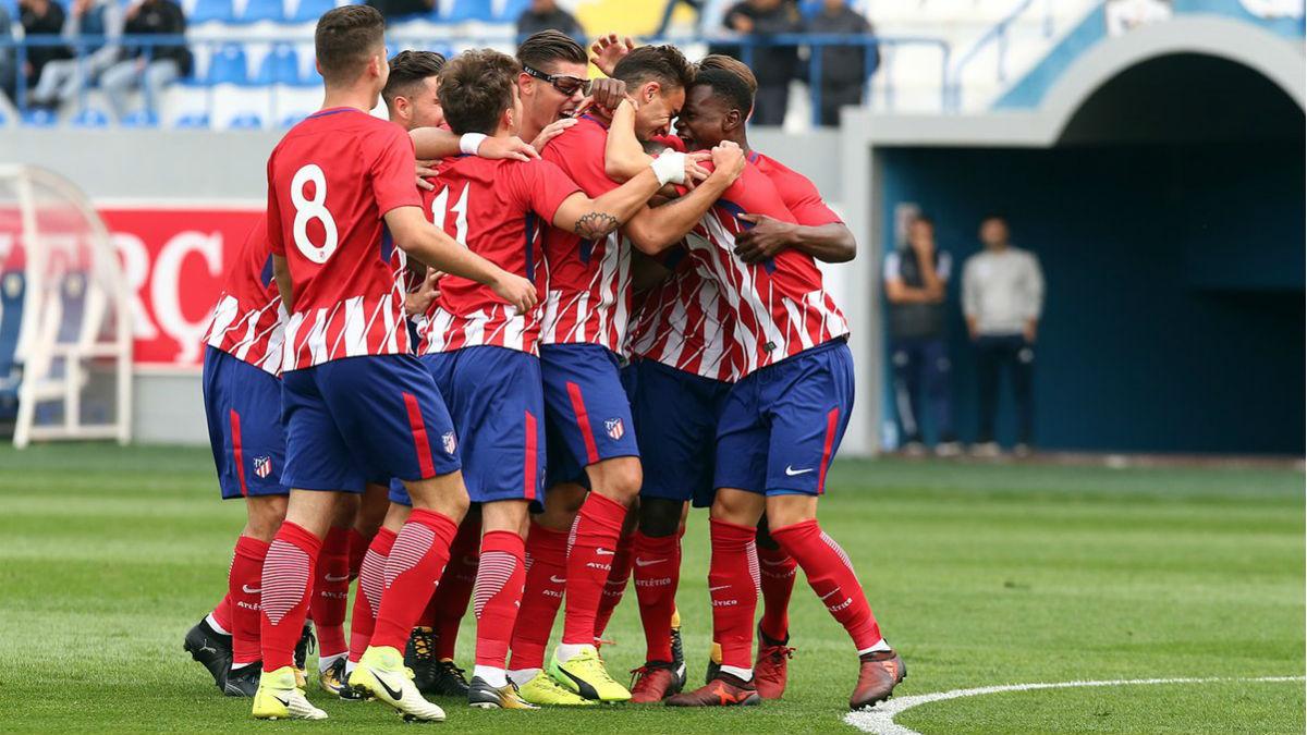 El Atlético juvenil celebra la victoria ante el Qarabag. (atleticodemadrid.com)