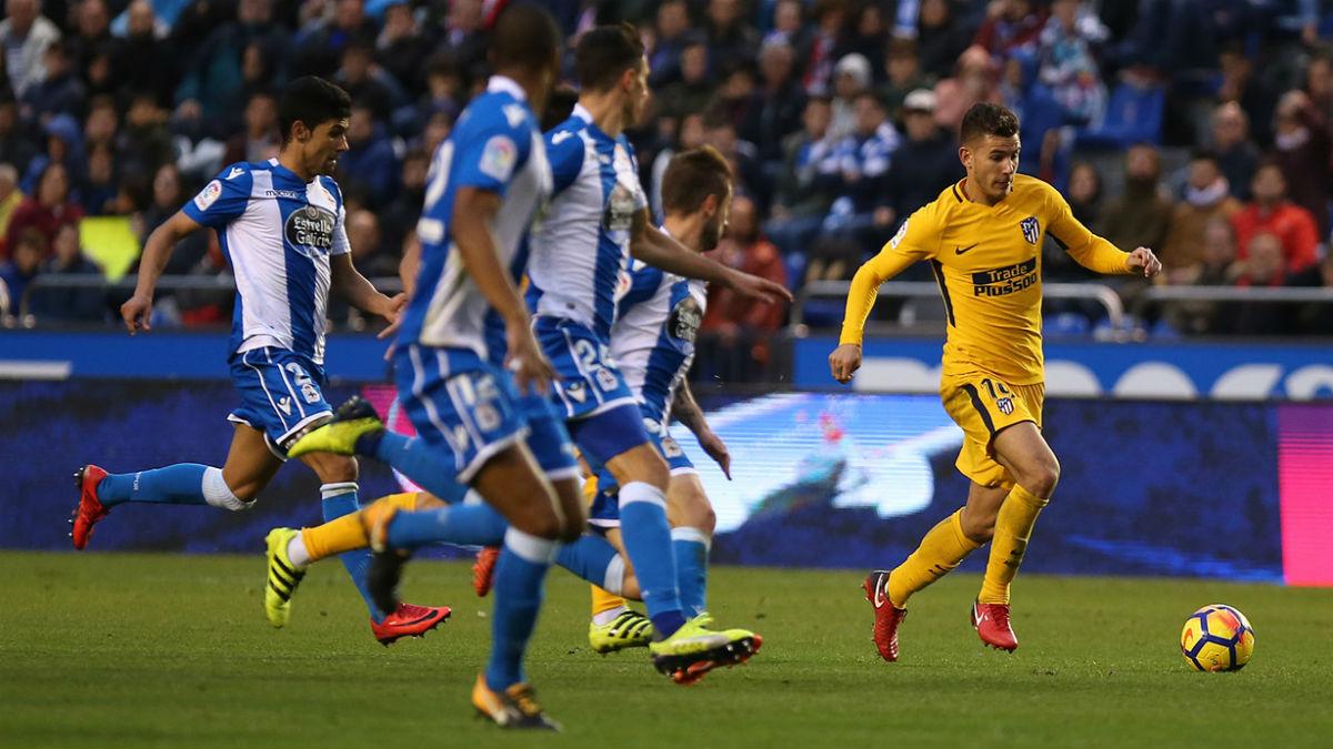 Lucas Hernández durante el duelo ante el Deportivo. (atleticodemadrid.com)