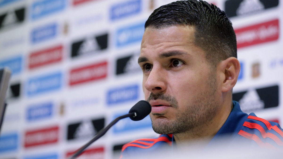 Vitolo, en sala de prensa con la selección española. (EFE)