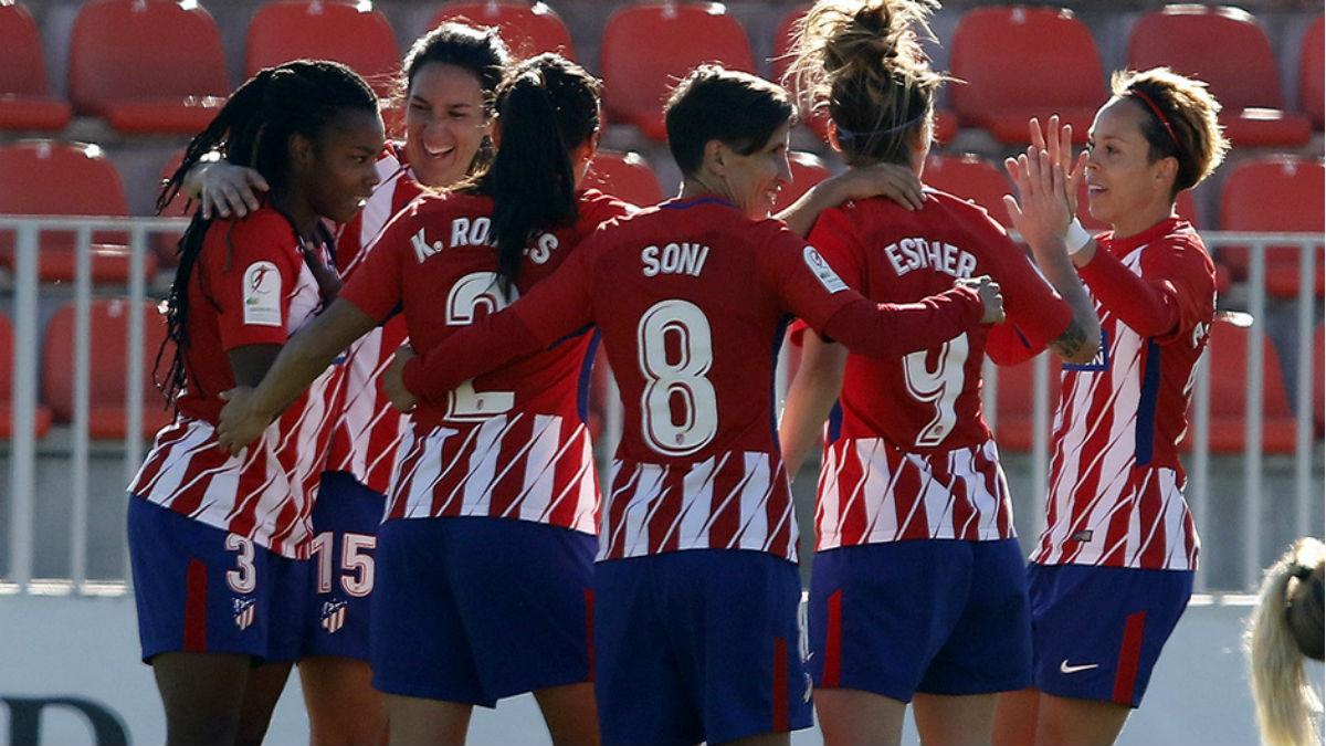 Las jugadoras del Atlético celebran uno de los goles ante el Granadilla. (atleticodemadrid.com)