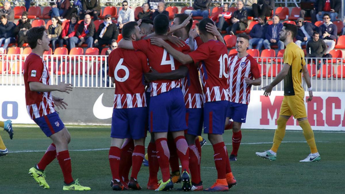 Los jugadores del Atlético B celebran un gol. (atleticodemadrid.com)