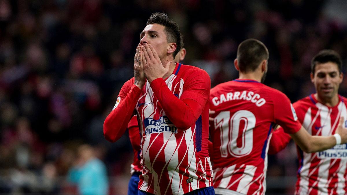 José María Giménez celebra su gol frente al Elche. (EFE)