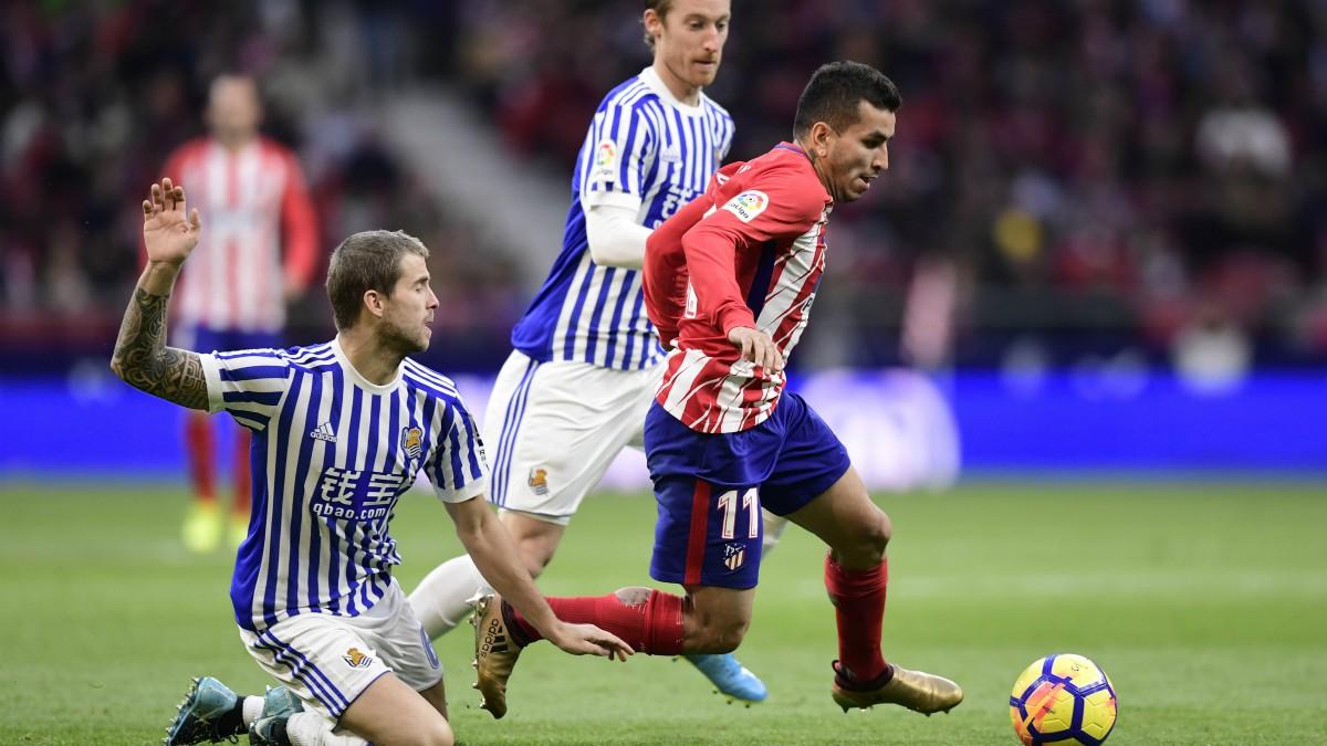 Correa, en el partido frente a la Real Sociedad. (AFP)