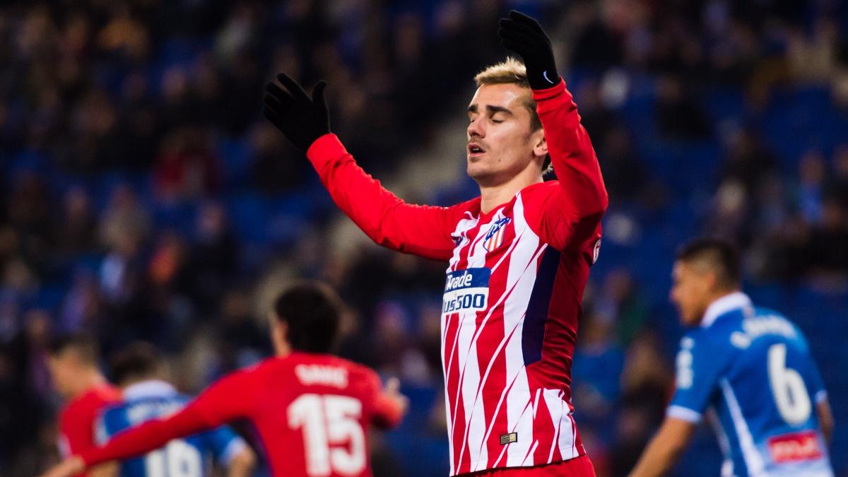 Antoine Griezmann se lamenta de una ocasión en el Espanyol vs Atlético (Getty)