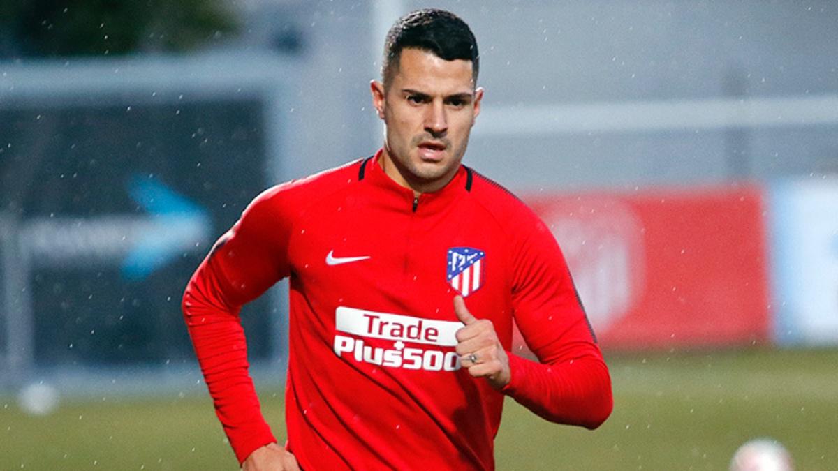 Vitolo, durante un entrenamiento con el Atlético de Madrid (atleticodemadrid.com)