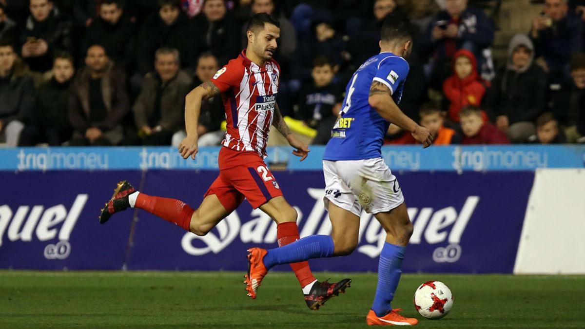 Vitolo, durante una acción del Lleida vs Atlético de Madrid (atleticodemadrid.com)