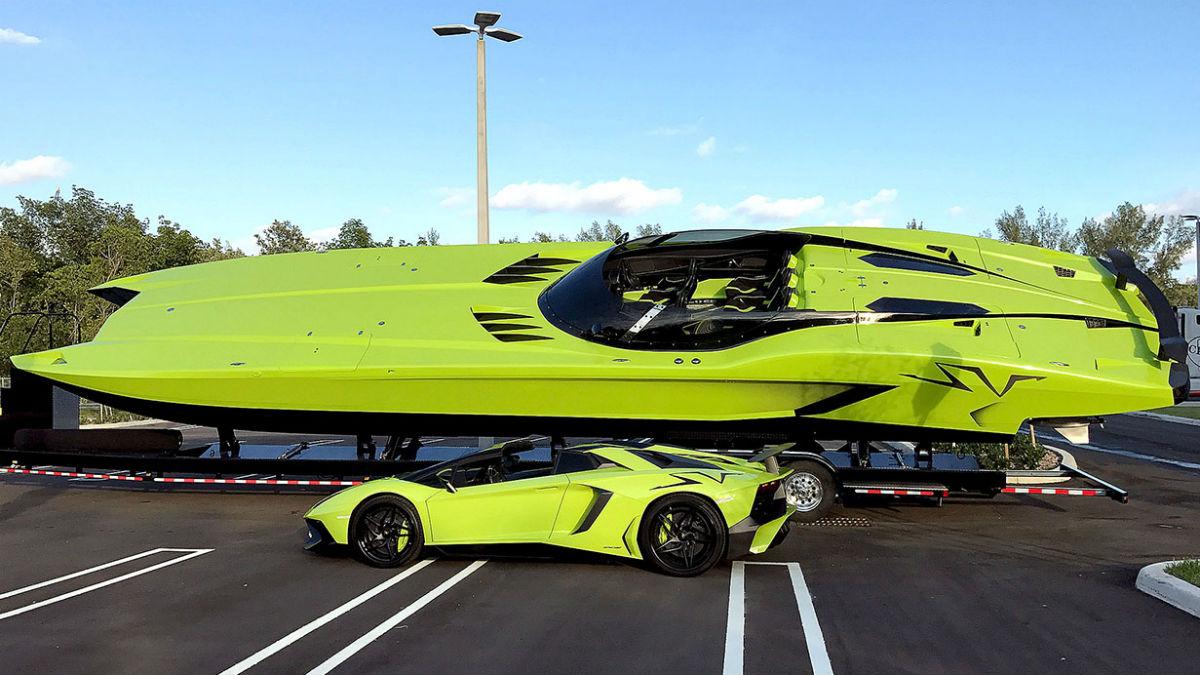 Por un módico precio de 3 millones de euros te podrás llevar a casa una de las lanchas más rápidas del planeta, que vendrá de regalo con todo un Lamborghini Aventador SV.
