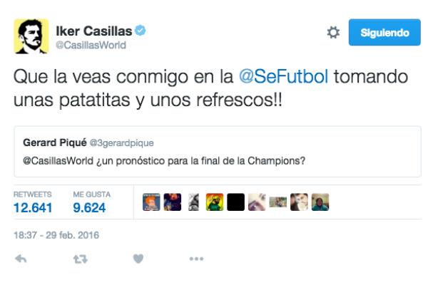Casillas y Piqué se 'picaron' en Twitter.