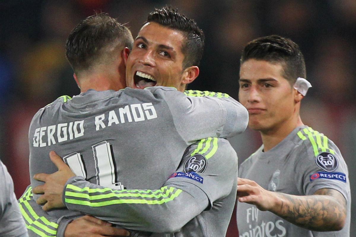 Cristiano y Ramos celebran el primer gol del Real Madrid en Roma. (Getty)