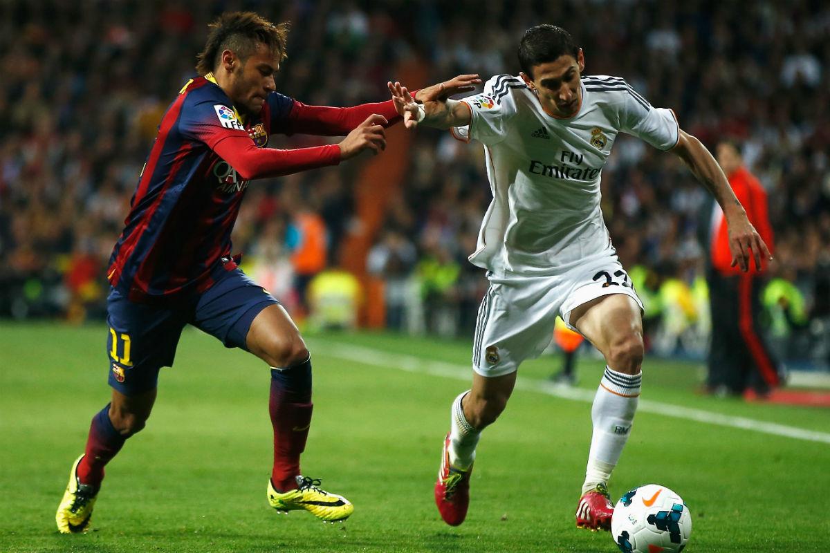 Di María, en un partido contra el Barcelona. (Getty)