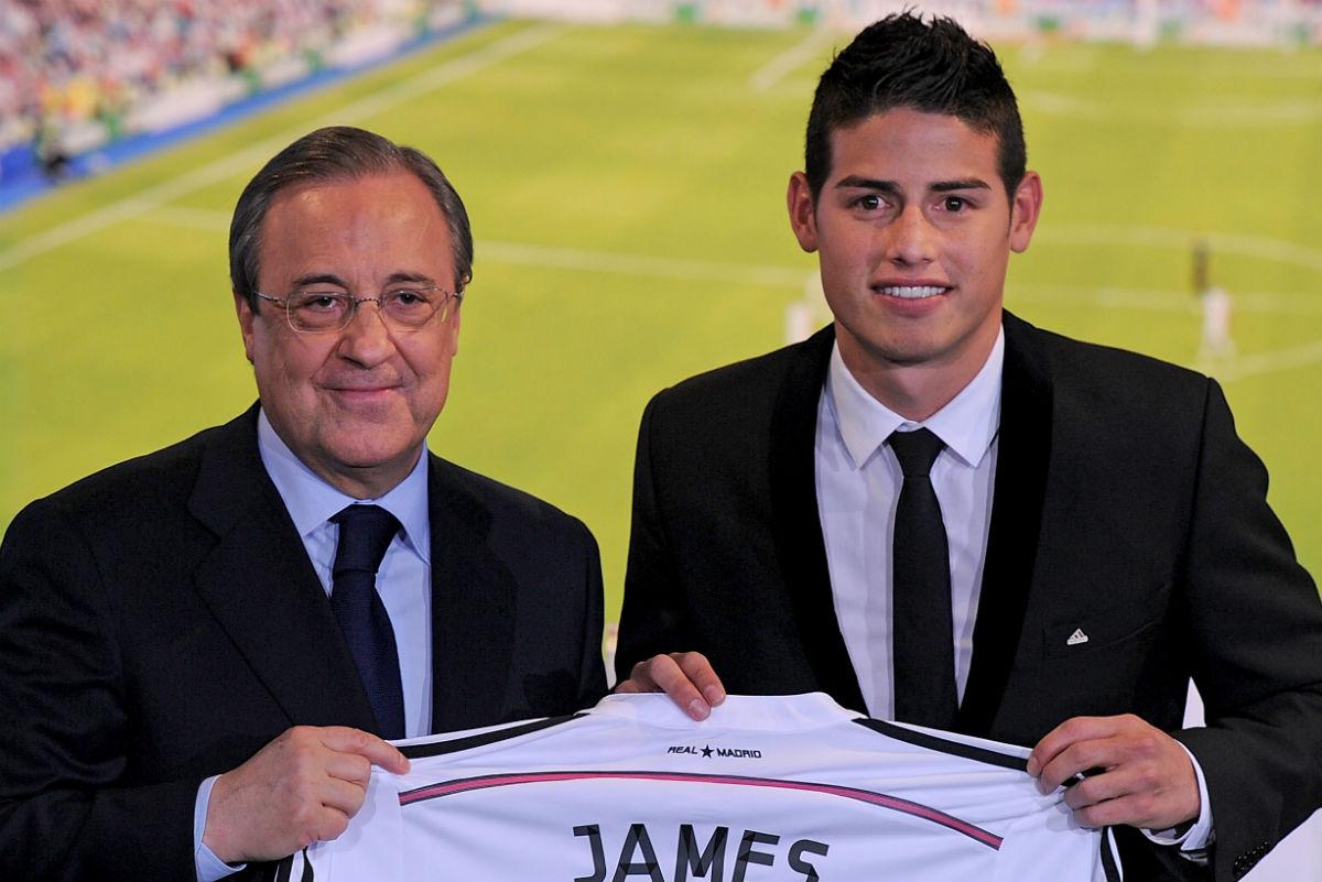 James Rodríguez, en su presentación como jugador del Real Madrid. (Getty)
