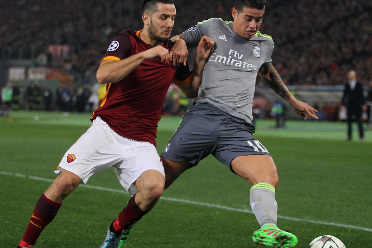 James Rodríguez se dañó el hombro contra la Roma. (Getty)