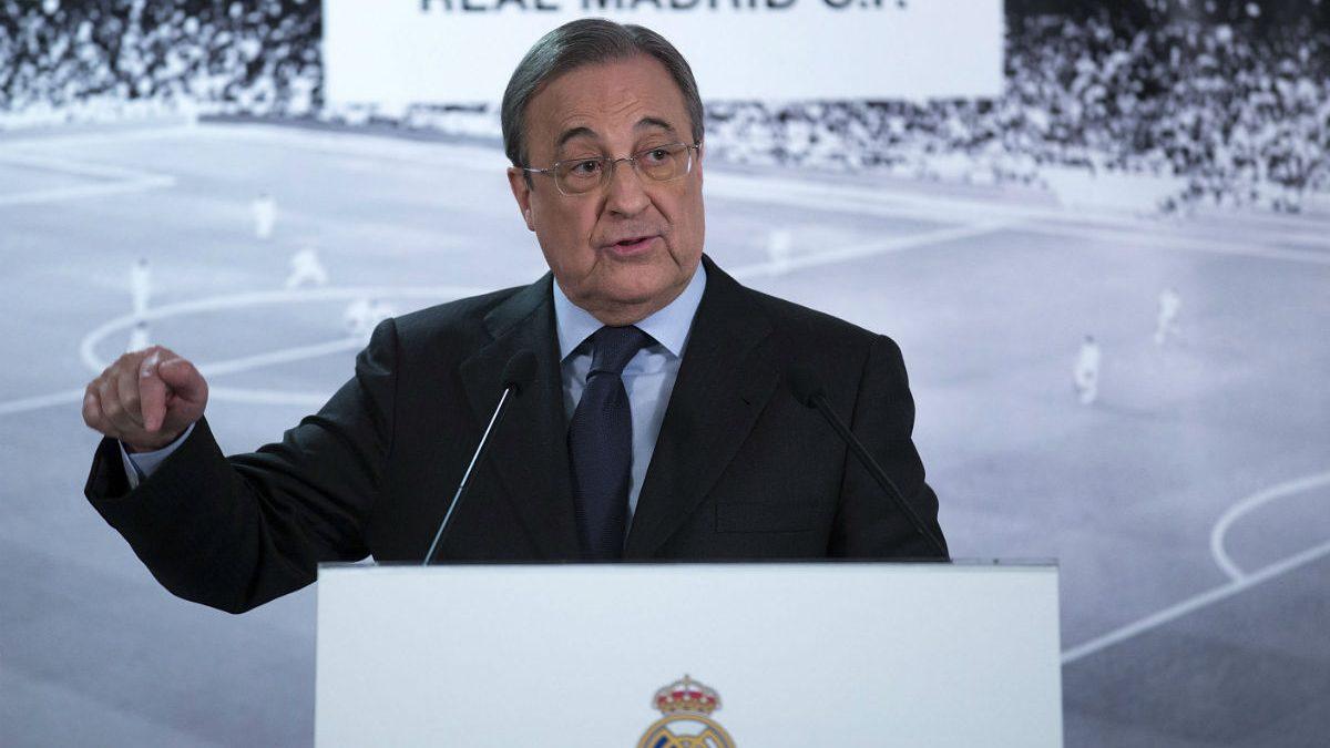 Florentino Pérez, en una comparecencia pública. (Getty)