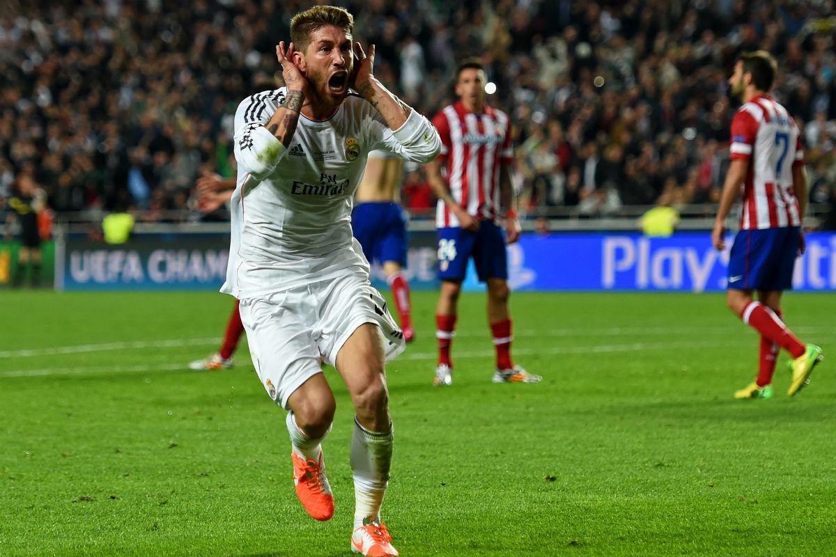 Sergio Ramos marcó el gol de la Décima contra el Atlético. (Getty)