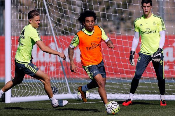 Marcelo, en un entrenamiento con el Real Madrid. (Imagen: realmadrid.com)