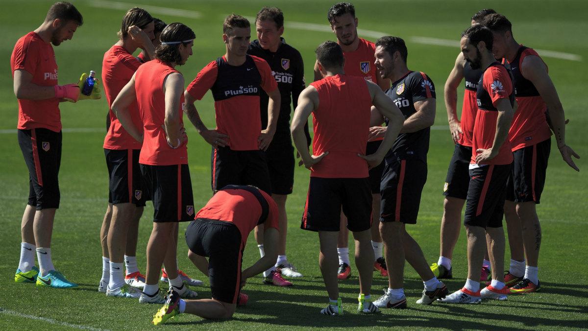El Atlético, en un entrenamiento en el Cerro del Espino. (Getty)