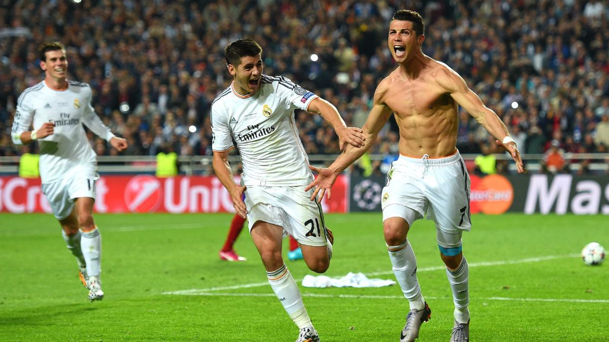 Cristiano Ronaldo celebra el 4-1 en Lisboa. (Getty)