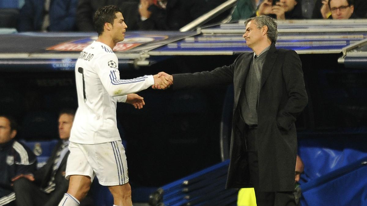 Mourinho y Cristiano durante su etapa en el Madrid. (AFP)