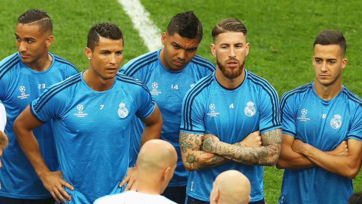 Sergio Ramos junto a Cristiano en el entrenamiento en San Siro. (Getty)