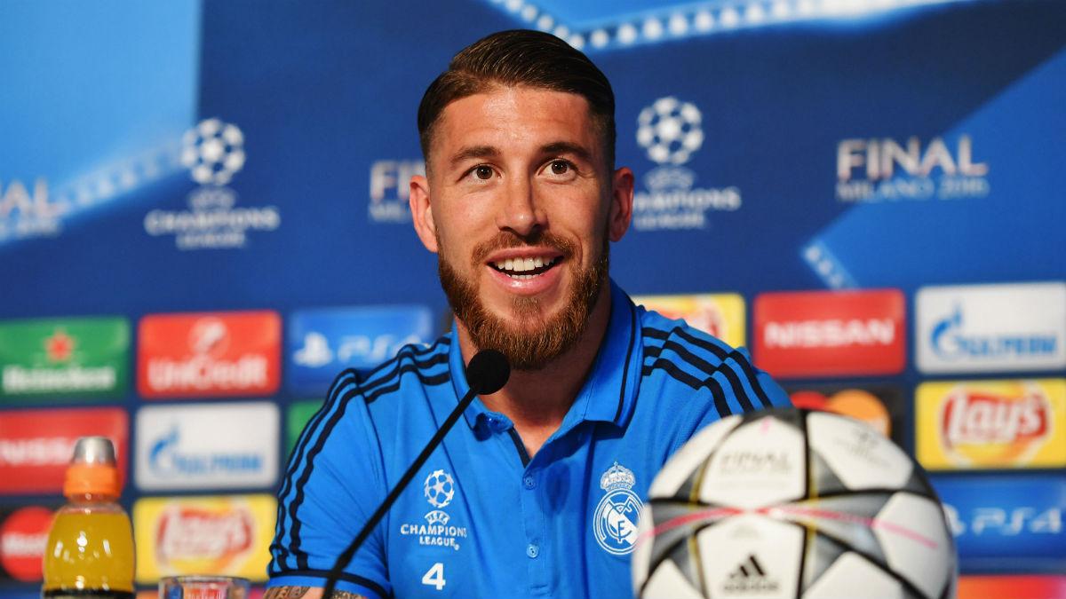 Sergio Ramos en rueda de prensa en Milán. (Getty)