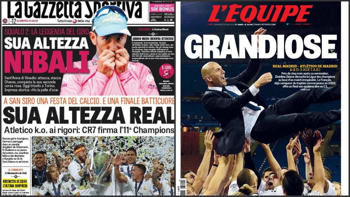 Portadas internacionales dedicadas al Real Madrid.