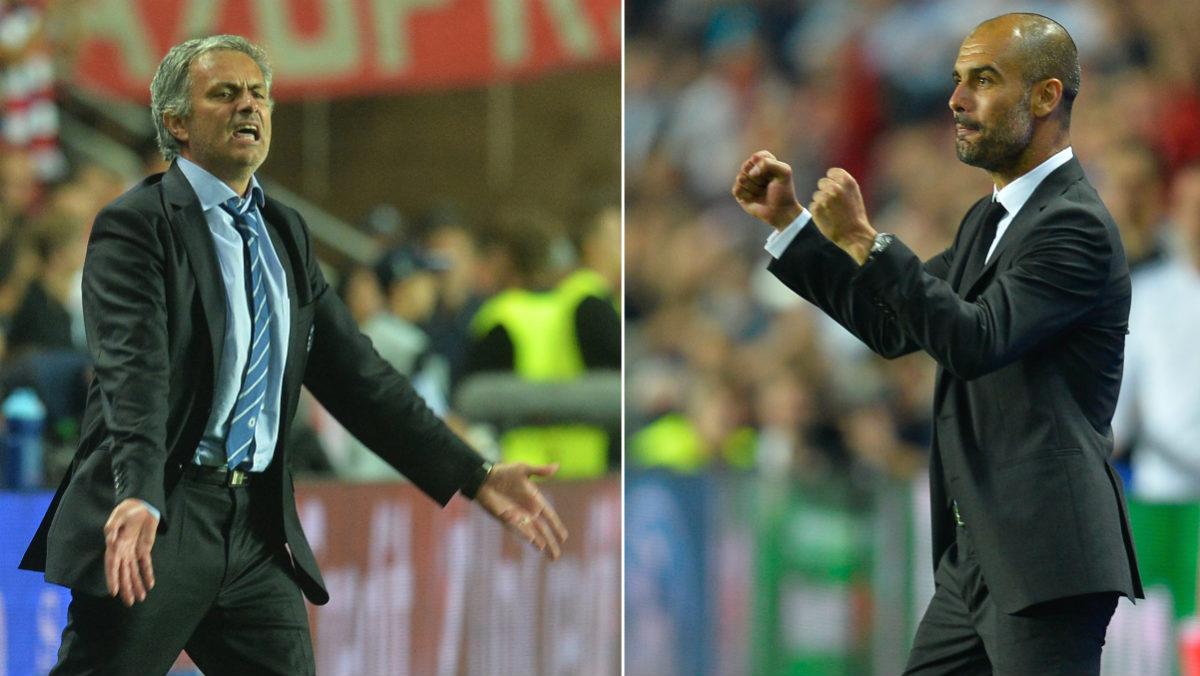 José Mourinho y Pep Guardiola, frente a frente. (AFP)